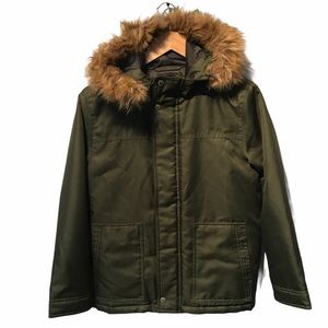 Gap faux fur trimmed army green coat girls XL
